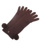 グッチ GUCCI 手袋 ニット グローブ インターロッキング ポンポン付 ブラウン 茶 L RRR