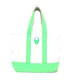 ルシアンペラフィネ LUCIEN PELLAT-FINET トートバッグ ハンドバッグ キャンバス スカル バイカラー グリーン ホワイト 黄緑 白