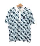 ブラック&ホワイト BLACK&WHITE ゴルフウェア ポロシャツ 総柄 ロゴ刺繍 半袖 L 紺 緑 青 白 RRR