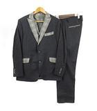 スーツ セットアップ 3P カシミヤ混 裏総柄 ストライプ チェック チャコールグレー 52