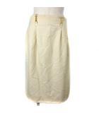 セリーヌ CELINE ヴィンテージ スカート ミディアム丈 タック チェーン クリーム 40 IBS91