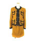 モスキーノ MOSCHINO ネップツイード セットアップ スカートスーツ ノーカラー 金ボタン マスタード 9 IBS91