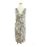 ワンピース ドレス ノースリーブ シルクジャージー 総柄 白 黒 2 IBO15