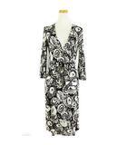 ラップワンピース ドレス 7分袖 シルク ジャージー 白 黒 2 IBO15