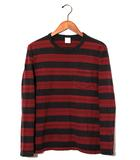 クーティー COOTIE COOTIE クーティー Panel Shadow Border L/S Pocket Tee ボーダー長袖Tシャツ S red 春夏 /◆
