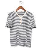 シャマ SHAMA shama シャマ ボーダー ヘンリーネック半袖Tシャツ 38 NAVY 春夏 /◆