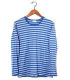 マリメッコ marimekko marimekko マリメッコ クルーネック ボーダー 長袖Tシャツ S ブルー オールシーズン /◆