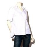 with performance ウィズパフォーマンス ストライプ 半袖 スキッパーシャツ フォーマル S White 白 /◆☆