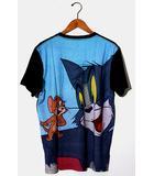 未使用品 TOM AND JERRY トムとジェリー バックプリント 半袖Tシャツ L BLACK ブラック graniph /◆