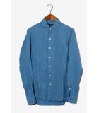 ジュンハシモト junhashimoto junhashimoto ジュンハシモト HORIZONTAL COLLAR SHIRTS 長袖 ホリゾンタルカラーシャツ 3 Blue 青 SHT008 S08 /◆