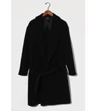 HARE ハレ ビッグショールカラー メルトンコート ロングコート S BLACK 黒 HA030022AD/◆