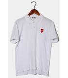 PLAY COMME des GARCONS プレイ コムデギャルソン ロゴ 半袖ポロシャツ M WHITE ホワイト /◆