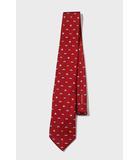LOEWE ロエベ ブランドロゴ 総柄 シルク100% イタリア製 レギュラータイ ネクタイ RED 赤色/◆