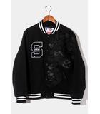 未使用品 2020SS Supreme × New Era シュプリーム ニューエラ MLB Varsity Jacket ワッペン バーシティジャケット スタジャン M BLACK 黒 /●