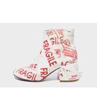 17AW MM6 エムエムシックス Maison Margiela メゾンマルジェラ Flared Heel FRAGILE Ankle Boots プリント アンクル ブーツ 37 23.5cm WHITE RED ホワイト レッド /◆☆
