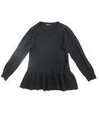 リズムオブライフ RHYTHM OF LIFE ニット 長袖 セーター 裾ペプラム ウール混 黒 0212 ■ ◆