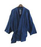 笹倉玄照堂 作務衣 上着 縞模様 藍染 紺 ネイビー L 0117