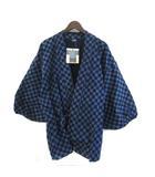 笹倉玄照堂 吉兆藍木綿 作務衣 上着 和柄 総柄 藍染 紺 ネイビー 714 0117