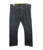 エヴィス EVISU デニム パンツ ジーンズ コラボ エヴィス×プーマ ストレート ボタンフライ プリント ブラック size 34 0309