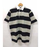バーバリアン BARBARIAN QSE-07 ポロシャツ ラガーシャツ 半袖 ボーダー グレー ネイビー M