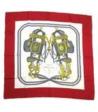 エルメス HERMES カレ 90 大判 スカーフ シルク ストール BRIDE de GALA 式典用馬勒 赤 マルチカラー△O01