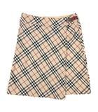 ノバチェック ラップ 巻き スカート ハーフ 膝丈 38 ベージュ