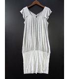 ユニクロ UNIQLO ダブルスタンダードクロージング ダブスタ DOUBLE STANDARD CLOTHING コラボ ワンピース ギャザー レーヨン グレー M