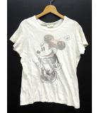 ザラ ZARA ミニー Tシャツ カットソー ヴィンテージ加工 半袖 オフホワイト 白 S
