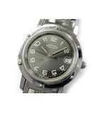 エルメス HERMES クリッパー 腕時計 SS クォーツ デイト CL4.210 ダークグレー