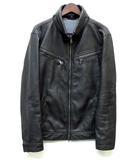 ハイダウェイ ニコル HIDEAWAY フェイクレザー コンパクト ブルゾン ライダースジャケット ストレッチ 黒 ブラック 50