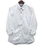 ハイダウェイ ニコル HIDEAWAY Wフェイス ストライプ ショートカラー シャツ 7分袖 白 ホワイト 46