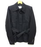 イヴサンローランリヴゴーシュ YVES SAINT LAURENT rive gauche ベルト付き ジャケット 隠しボタン ウール 4ポケット 黒 ブラック 36 イタリア製