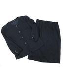ダックス DAKS スカート スーツ 上下セット ノーカラー ジャケット タスマニア カシミヤ混 ネイビー 紺 13BR 大きいサイズ