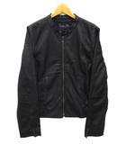 バジーレ BASILE 28 シングル ライダース ジャケット ラムレザー 羊革 ブラック 黒 42