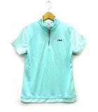 フィラ FILA ポロシャツ ハイネック ジップ ロゴ刺繡 ラインストーン ギンガムチェック 緑 ミントグリーン 半袖 M