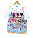 ディズニー Disney 限定 ハッピーバースデー Tシャツ カットソー 半袖 ミッキー ミニー ドナルド デイジー プリント ホワイト 白 S