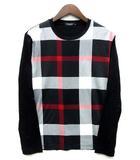 ブラックレーベルクレストブリッジ BLACK LABEL CRESTBRIDGE パネル チェック Tシャツ ロンT 長袖 カットソー クルーネック 2018SS レッド ブラック 赤 黒 M