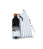 サンバリア100 折りたたみ 日傘 3段折 三段折 完全遮光 ストライプ ブルー 55cm 男女兼用