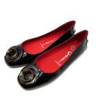 ジェフリーキャンベル Jeffrey Campbell フラットシューズ 靴 エナメル Wリング 黒 ブラック 7.5 24.5cm相当
