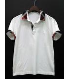 ブラックレーベルクレストブリッジ BLACK LABEL CRESTBRIDGE ポロシャツ 半袖 チェック 鹿の子 ホワイト 白 M 美品