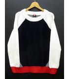 ダブルスタンダードクロージング ダブスタ DOUBLE STANDARD CLOTHING 配色 異素材 ニット セーター 長袖 ウール オフホワイト ネイビー F