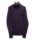 ダブルスタンダードクロージング ダブスタ DOUBLE STANDARD CLOTHING タートルネック ニット セーター 長袖 ビーズ ロゴ パープル 紫