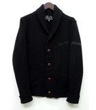 スロウガン SLOWGUN ショールカラー カーディガン ウール ニット KARRY 刺繍 ブラック 黒 2