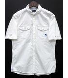 バーバリーブラックレーベル BURBERRY BLACK LABEL オックスフォード 半袖 シャツ 丸襟 ホースマーク ホワイト 白 2