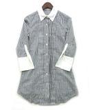ダーマコレクション dama collection Aライン カフス シャツ チュニック 七分袖 ストライプ ピンタック グレー ホワイト 灰 白 S