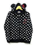 ディズニー Disney ミニー スウェット 耳付き パーカー ドット 長袖 ジップアップ ブラック ホワイト レッド 黒 白 赤 M