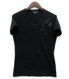 エンポリオアルマーニ EMPORIO ARMANI Tシャツ カットソー 半袖 Vネック ストレッチ ワッペン ラインストーン イーグル ブラック 黒 M