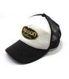 バンソン VANSON スナップバック メッシュ キャップ ロゴ ワッペン 黒 白 ブラック ホワイト