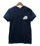 モンクレール MONCLER Tシャツ 半袖 ワッペン ダブルロゴ デカロゴ ネイビー 紺 S 国内正規