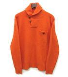ポロ ラルフローレン POLO RALPH LAUREN ヘチマ襟 ニット セーター ウール アンゴラ くるみボタン 胸ポケット オレンジ M